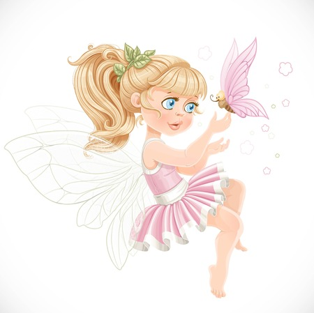 Sweet girl fairy in a pink tutu holding a large butterfly on the finger isolated on a white background Vectores