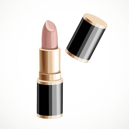 face female: Bege lipstick isolated on a white background Illustration