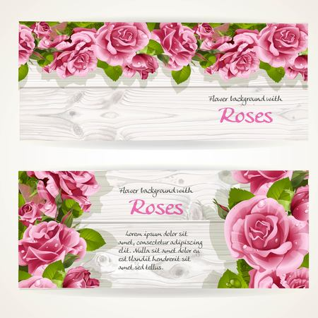 pearls and threads: Two horizontal banners with pink roses on a white wood background