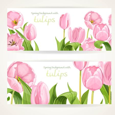 detail: Two horizontal banners with pink flowers tulips on a white background