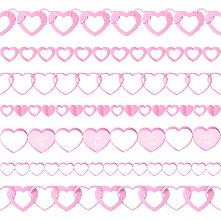 paper folding: Pink seamless paper garlands from hearts set isolated on white background