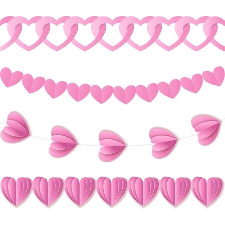 twirled: Pink seamless paper garlands from hearts Valentine isolated on white background