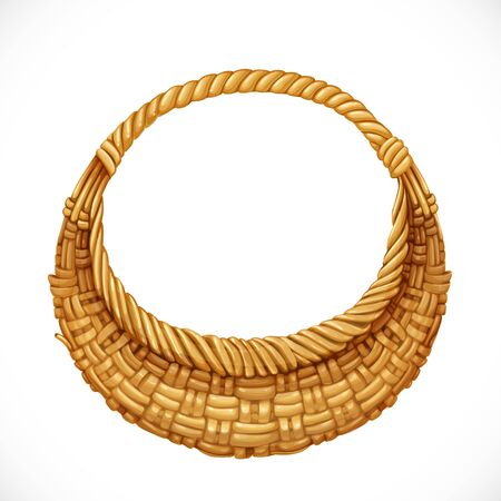 wicker: Realistic round wicker basket isolated on white background. Vector illustration