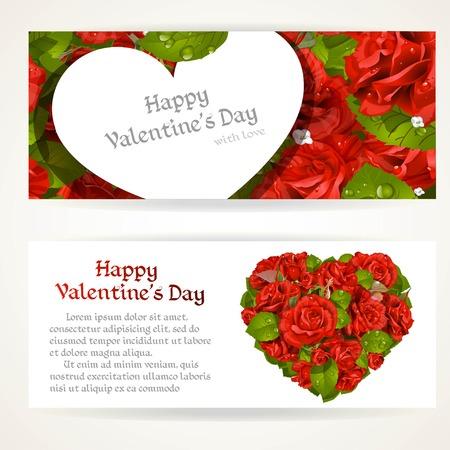 rosas rojas: Dos banderas horizontales con ramo de rosas rojas en forma de corazón y la tarjeta de San Valentín de rosas rojas de fondo