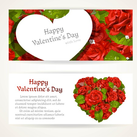 pearls and threads: Two horizontal banners with red roses heart shape bouquet and Valentine card on red roses background
