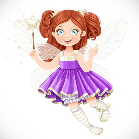 girl magic wand: Cute little fairy girl in violet dress with a Magic wand isolated on a white background Illustration