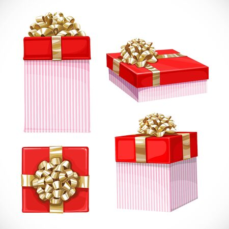 holiday gifts: Set of holiday gifts in red boxes with gold bow isolated on a white background