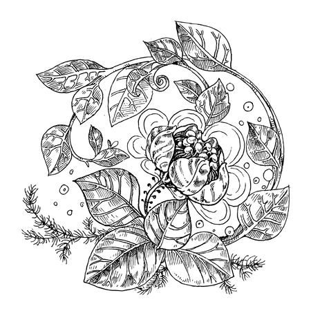 buds: Detailed vector background from fantasy flowers graphically black and white