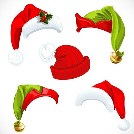 ? ?   ? ?    ? ?   ? ?  ? ?  ? hat: Año nuevo Santa Claus y sombreros Elf aislados en un fondo blanco Vectores