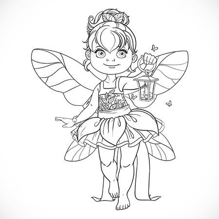 outlined isolated: Beautiful little fairy with a flashlight outlined isolated on a white background