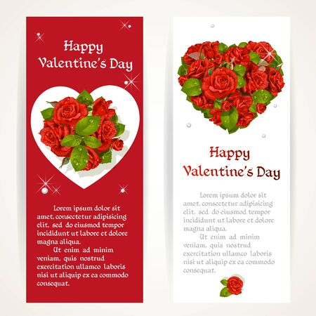 pearls and threads: Red roses on two vertical banners on a white and red background