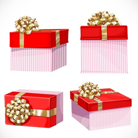 holiday gifts: Holiday gifts in red boxes with gold bow isolated on a white background