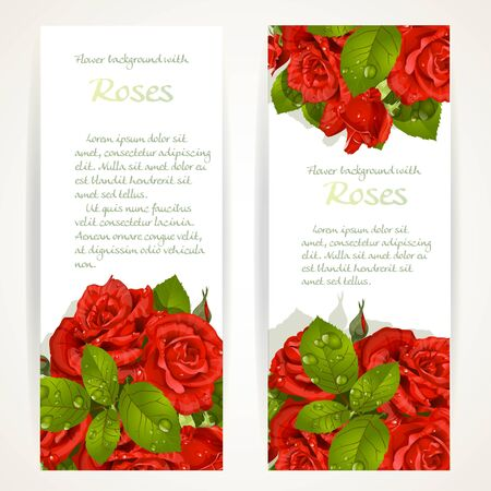 pearls and threads: Red roses on two vertical banners on a white background