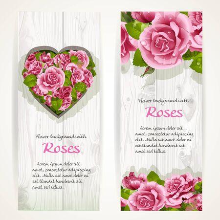 Rosas rosadas en dos banners verticales sobre un fondo de madera blanca