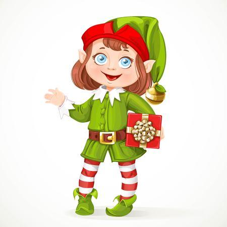 Schattig klein meisje van de kerstman elf met gift stand op een witte achtergrond