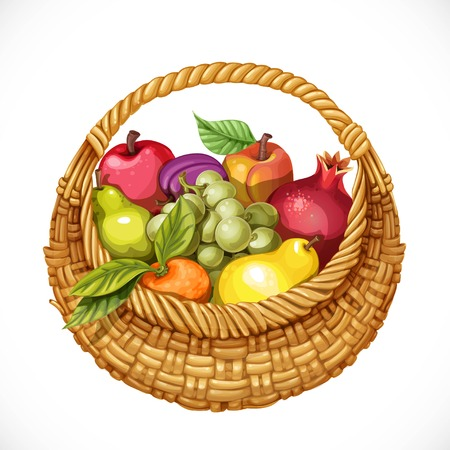 filled: Realistic round wicker basket filled with fruits pomegranate, grape, peach, apple, plum, pear, tangerine isolated on white background