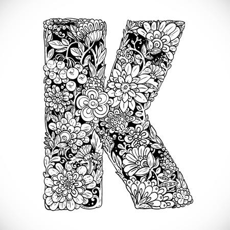 flower alphabet: Doodles font from ornamental flowers - letter K. Black and white
