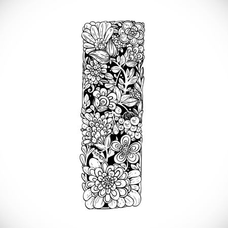 flower alphabet: Doodles font from ornamental flowers - letter I. Black and white