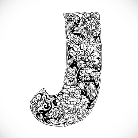 letters of the alphabet: Doodles font from ornamental flowers - letter J. Black and white