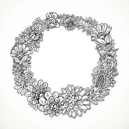 ligature: Round decorative frame from imaginary doodle flowers black and white drawing for coloring