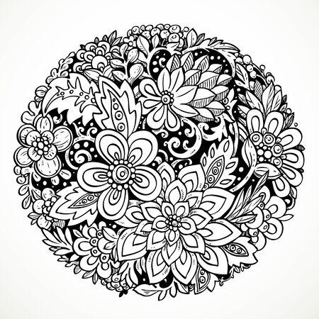 fondo blanco y negro: Ronda elemento decorativo para el procesamiento de las flores imaginarias dibujo en blanco y negro