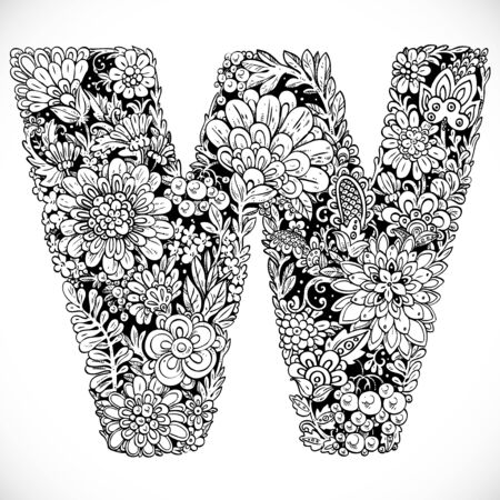 Doodles font from ornamental flowers - letter W. Black and white Vetores