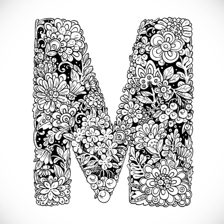 flower alphabet: Doodles font from ornamental flowers - letter M. Black and white
