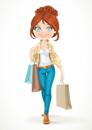 fashion bag: Shopaholic brunette girl goes with paper bags isolated on a white background