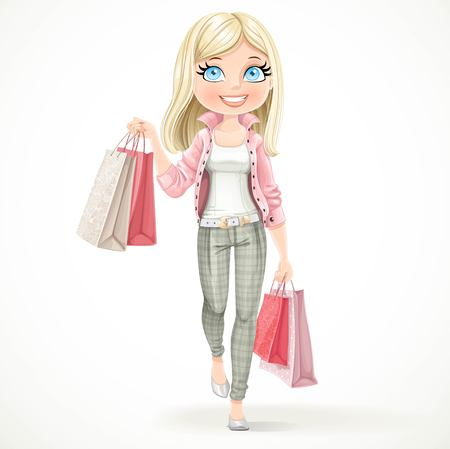 Cute blond shopaholic girl goes with paper bags isolated on a white background Иллюстрация