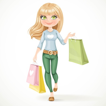 Shopaholic blond girl goes with paper bags isolated on a white background