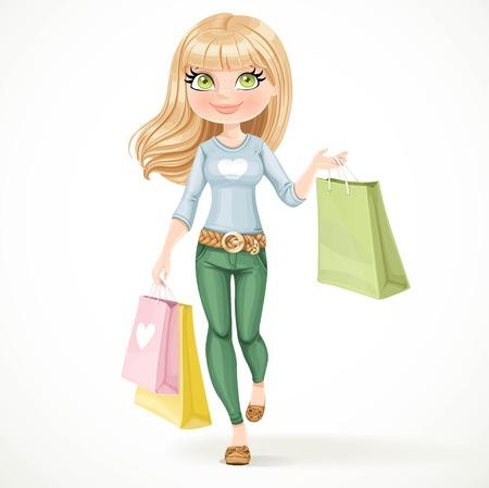 Shopaholic blondes Mädchen geht mit Papiertüten auf einem weißen Hintergrund