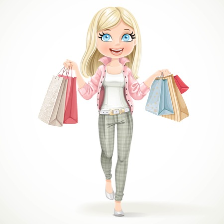 paper bags: Cute blond shopaholic girl goes with paper bags in hands isolated on a white background