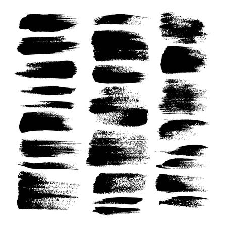 Black textured strokes big set isolated on a white background Vettoriali