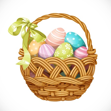 grass weave: Basket with color Easter eggs isolated on a white background
