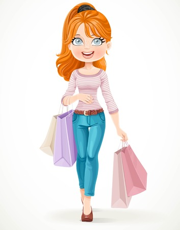fashion girl style: Cute redhead shopaholic girl goes with paper bags in hands isolated on a white background Illustration