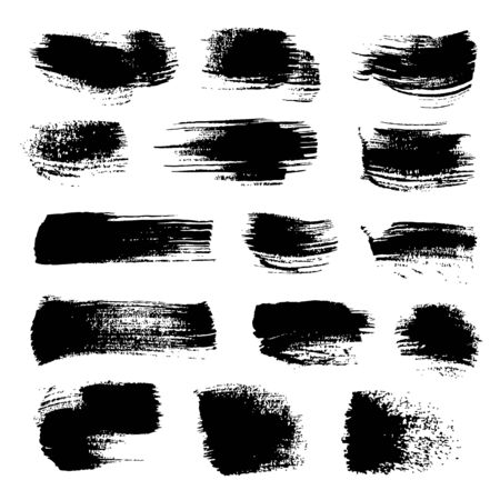 streak: Abstract black strokes of different freeform brush isolated on a white background