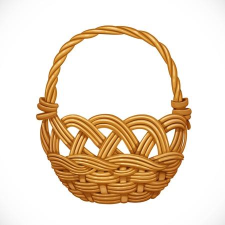 wickerwork: Wicker basket isolated on white background. Vector illustration