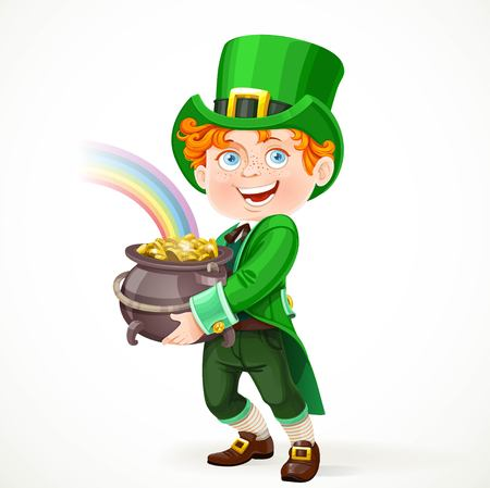 freckles: Cute boy in a Leprechaun suit with pot full of gold isolated on white background