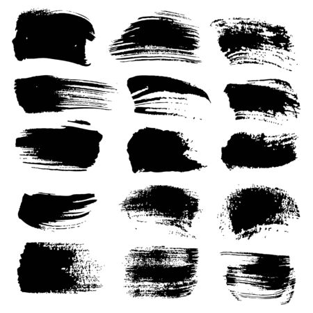 wet: Abstract black strokes of different brushes isolated on a white background Illustration