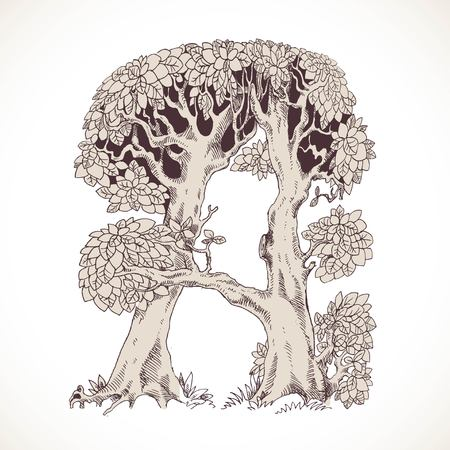 thick forest: Magic forest hand drawn from trees by a vintage font - A