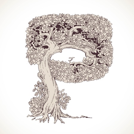 thick forest: Magic forest hand drawn from trees by a vintage font - P