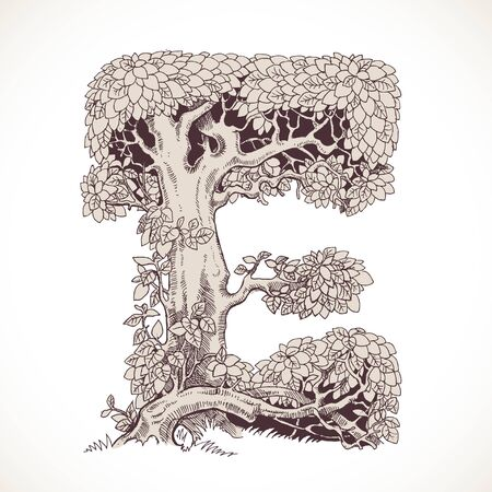 thick: Magic forest hand drawn from trees by a vintage font - E