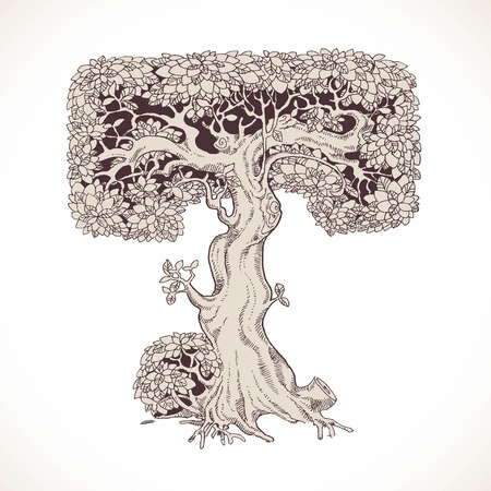 thick forest: Magic forest hand drawn from trees by a vintage font - T