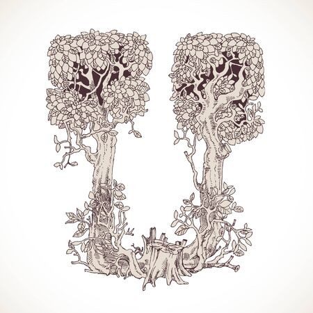 the thick forest: Magic forest hand drawn from trees by a vintage font - U