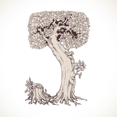 the thick forest: Magic forest hand drawn from trees by a vintage font - J
