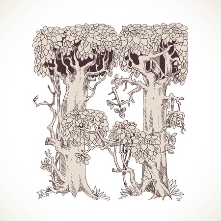 old letter: Magic forest hand drawn from trees by a vintage font - H