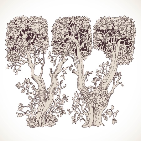 the thick forest: Magic forest hand drawn from trees by a vintage font - W