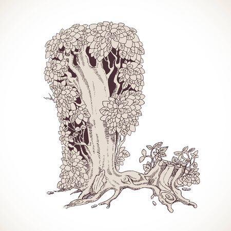 Magic forest hand drawn from trees by a vintage font - L