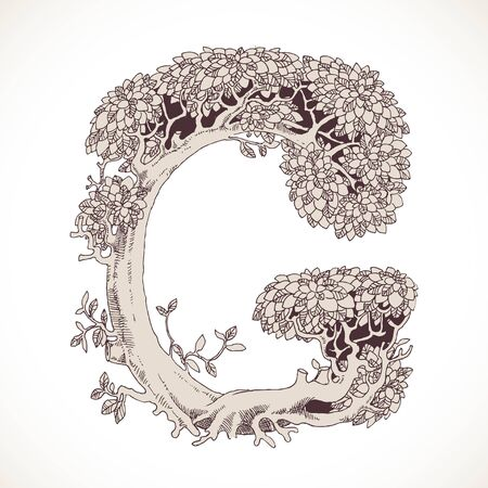 the thick forest: Magic forest hand drawn from trees by a vintage font - G Illustration