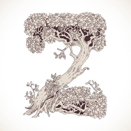 thick forest: Magic forest hand drawn from trees by a vintage font - Z